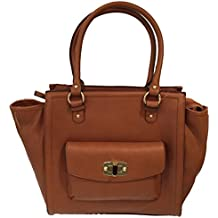 Merona Women's Faux Leather Butternut Tote Handbag zip closure