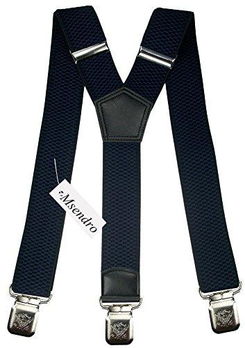 Hosenträger für Herren breit extra starken 4 cm mit 3er Clips Y-Form lange für Männer und Damen Hose alle Farben (Marineblau)