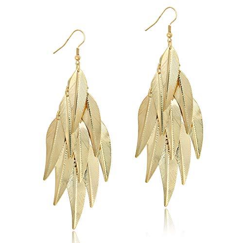 KISSPAT 14K Gold Cluster Leaf Earring Light Weight Drop Dangle Earrings for Women Girls