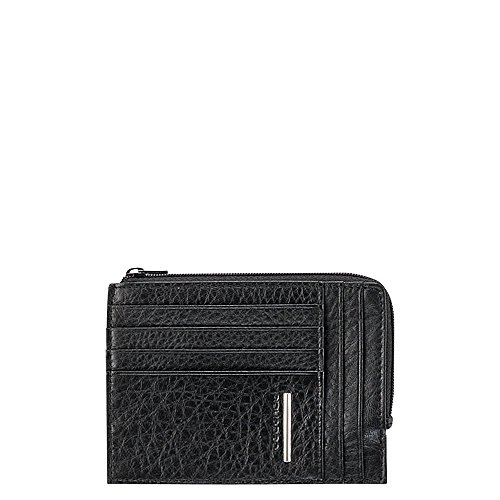 PIQUADRO Leather zip-around Credit Card Holder - Black - MODUS Collection PP1220MO