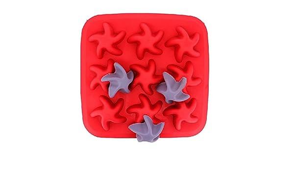 Amazon.com: Starfish Silicone Ice Cube Tray Jelly Chocolate Pudding Mold // De silicona de hielo de mar bandeja de cubitos de molde de gelatina budín de ch: ...