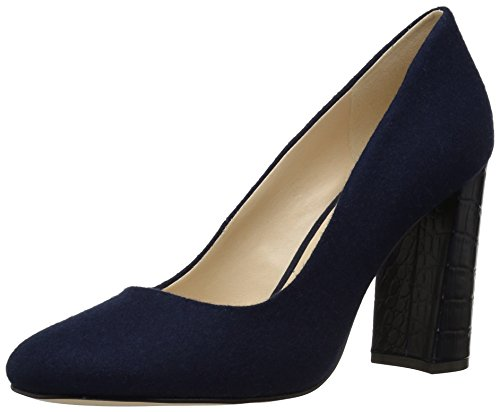 Navy Heels Leather High (Nine West Women's Denton, Navy Wool, 7.5 Medium US)