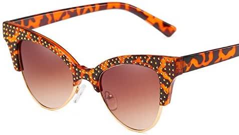 Amazon.com: Morrenz - Luxury Half Frame Cat Eye Sunglasses