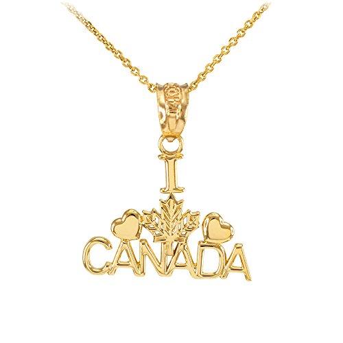 Collier Femme Pendentif Poli 10 Ct Or Jaune I Love Canada (Livré avec une 45cm Chaîne)