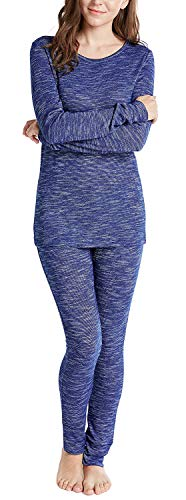 (Ink+Ivy Cotton Modal Winter Pajamas for Women, Thermal Underwear Set with Picot Trim Top & Leggings, Navy XXL)