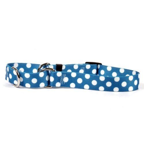 Blueberry Polka Dot Martingale Control Dog Collar - Size Small 14