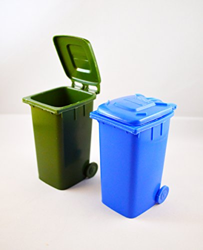 Set of 2 Mini Trash Cans (Blue, Green) (Toy Trash Can compare prices)