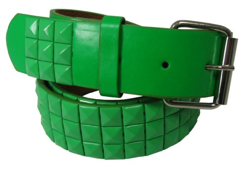 Nice Shades Genuine Leather Green Studded Snap On Belt with a Detachable Buckle. X-Large (Belt Detachable Buckle)