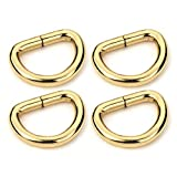 CRAFTMEmore D-Ring Findings Metal Non Welded D Rings for Belts Bags Landyard Leathercraft Available 4 Colors 3/4 & 1 Inch Pack of 20 (1 Inch, Gold)