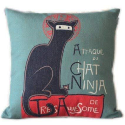 Amazon.com: VeraDa Attaque Du Chat Ninja Cat Throw Pillow ...