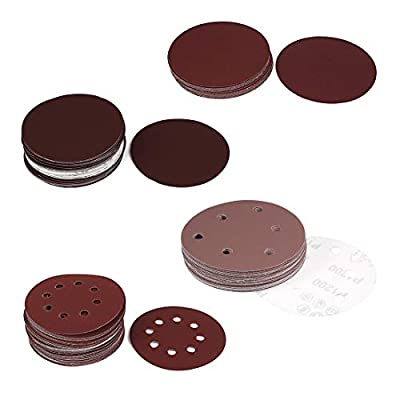 uxcell 5 Inch 6 Hole Hook and Loop Sanding Disc 80 Grit for Random Orbit Sander