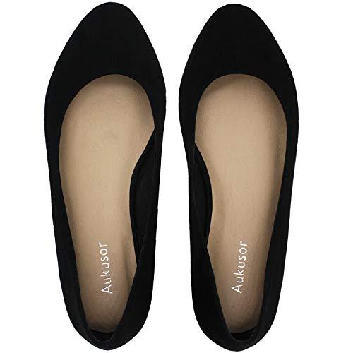 Women's Wide Width Flat Shoes - Comfortable Classic Pointy Toe Slip On Ballet Flat(Black Suede 180818,7WW)