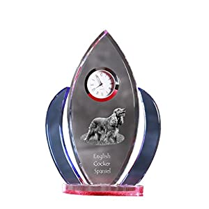 English Cocker Spaniel, Crystal Clock, Shape of Wings with The Image of a Dog 11