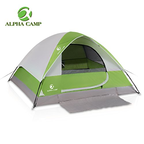 ALPHA CAMP 4 Person Dome Tent for Camping Easy Setup Tent with Foot Mat - 9' x 7' Green