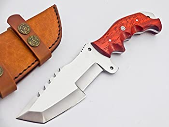 TR-2150- CUSTOM HANDMADE D2 TRACKER KNIFE- RED WOOD HANDLE