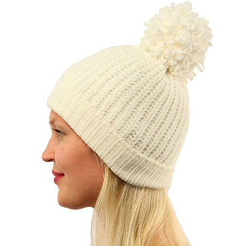 ltra Soft Chenille Pom Pom Warm Chunky Stretchy Knit Beanie Hat Ivory (Winter Chenille)