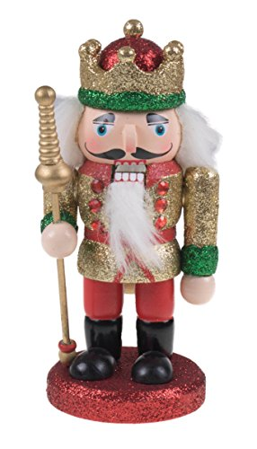 Traditional Wooden Gold and Red Chubby King Nutcracker by Clever Creations | Crown, Boots, & Scepter | Festive Christmas Decor | 6.25