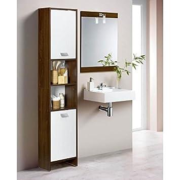 TOP Colonne de salle de bain L 40 cm - Décor wengé et blanc ...