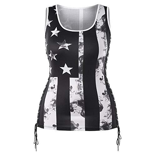❤️Strappy Tank Tops for Women, Ladies Vertical Stripes Star Sleeveless Blouse Flag Print Baggy Tops Gogoodgo Black ()
