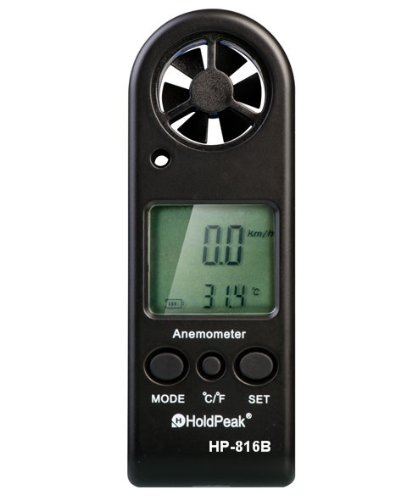 Amazon Lightning Deal 70% claimed: HOLDPEAK 816 Digital Mini Sized Anemometer ¨C Wind Speed Meter For Windsurfing Kite Flying Sailing Surfing Fishing ¨C This Wind Speed Tester Measures Wind Speed + Temperature + Wind Chill with Backlight & Auto Power Off