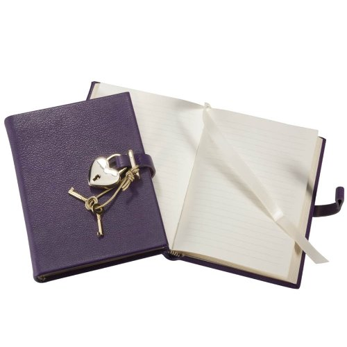 Graphic Image Small Heart Lock Diary, Genuine Leather Hard Cover, 240 Lined Pages, 6''