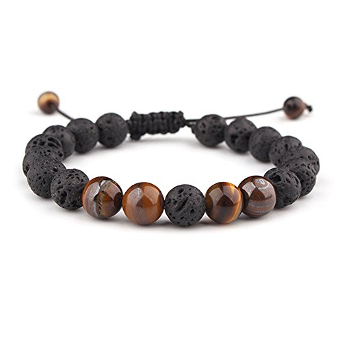 (Celokiy Braided Calm Lava Rock Diffuser Oil Mens Bracelet for Women Adjustable - Meditation,Relax,Healing,Aromatherapy,Chakra,Yoga)