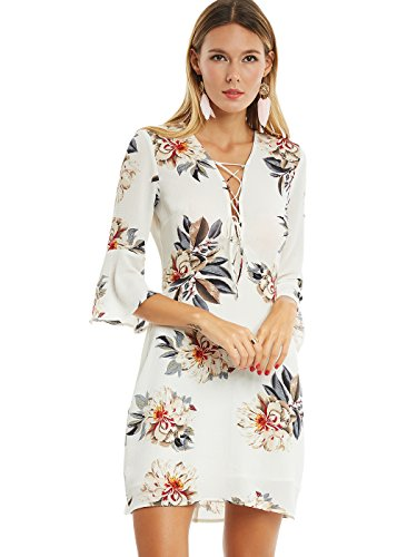 Kinikiss Women's Floral Print Flare Sleeve V Neck Beige Chiffon Tunic Mini Dress (XL)