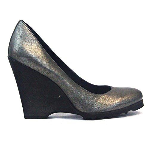 De zapato de Juicy Couture cojín con forma de cuña de pista de diseño de tacones, estándar del Reino Unido 3,5, de £126 azul - gris/negro