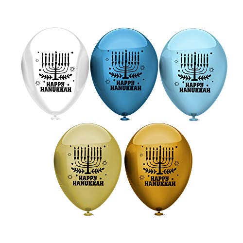 Hanukkah Latex Balloons - Biodegradable - Pearlescent Colors - Decoration for Hanukkah Holiday - 40 Balloons - with Menorah Design - Celebrate with Jewish Friends & Family