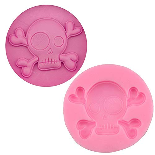 Cake Molds - Mj148 Pirate Skull Fondant Cake Molds Chocolate Mould Baking Silicone Sugar Halloween Decoration - Garden Fondant Roll Baking Crispy Mould Brick Clay Mold Decorating Cake Cho