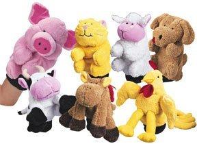 Constructive Playthings Plush Farm Animal Glove Puppets / - Farm Animal Hand Puppets