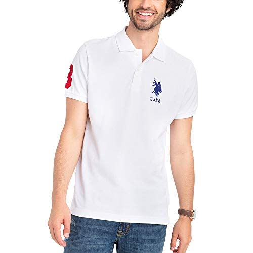 U.S. Polo Assn. Mens Classic Big Pony Solid Pique Polo Shirt with #3 Patch - White, Small
