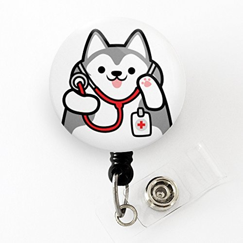 Husky Retractable Badge Holder, Dog Badge Reel, Husky Badge Reel, Veterinarian Badge Reel, Husky Badge Holder, Husky Gift, Nurse Gift, Doctor Gift, Veterinarian Gift, Cute Badge Reel