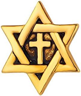 ユニセックス ジュエリー アクセサリー 六芒星 十字架 ブローチ ラペルピン (アンティークゴールド)