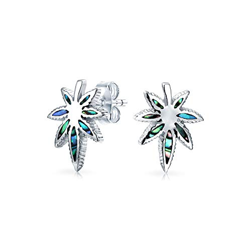 - Abalone Shell Iridescent Thc Marijuana Cannabis Leaf Weed Pot Stud Earrings For Women 925 Sterling Silver