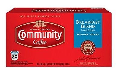Community Coffee Premium Ground Breakfast Blend Medium Roast Coffee, 80ct Single Serve Pods. Compatible with Keurig K-cup brewers.