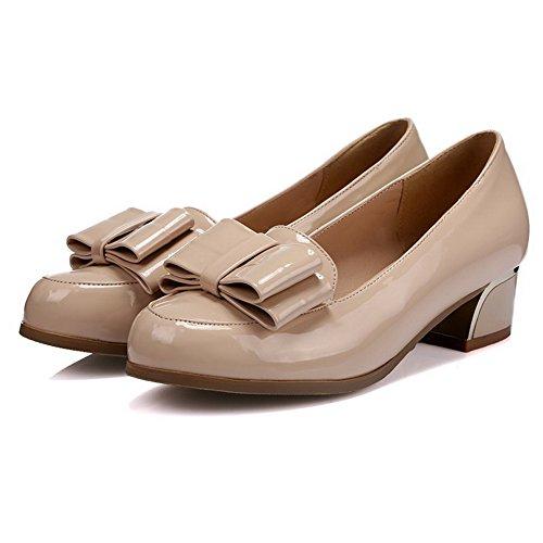 AllhqFashion Damen Rund Zehe Ziehen auf PU Rein Niedriger Absatz Pumps Schuhe Aprikosen Farbe
