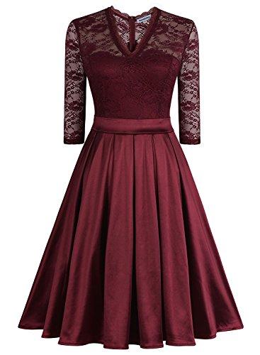 Mmondschein Women Vintage 1930s Style 3/4 Sleeve Black Lace A-line Party Dress Darkred M