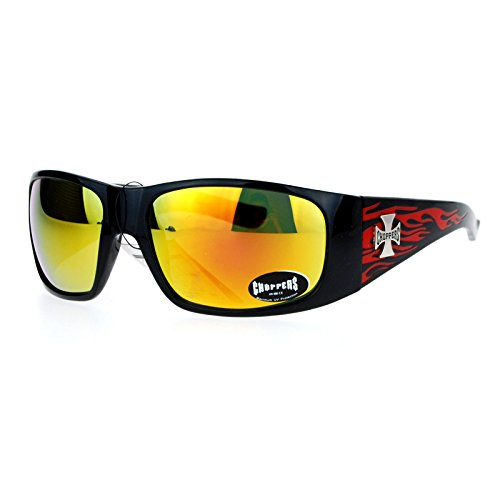(Choppers mirrored Color Lens Hot Rod Flaming Arm Biker Warp Sunglasses Red)