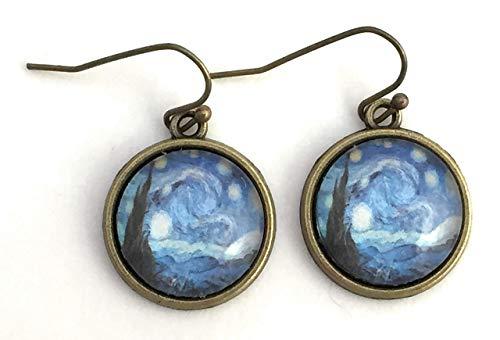 Van Gogh Starry Night Handmade Dangle Earrings - Antique Bronze
