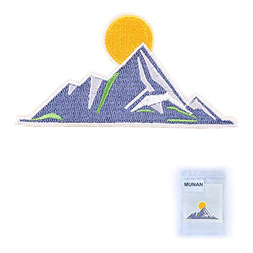 MUNAN sew on Patches Blue Mountains Patches Iron On Sewing Embroidered Patches Badge Applique for Clothes Jacket Jeans Cap