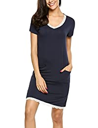 Ekouaer Women Sleepshirt V-Neck Nightgown Short Sleeve Sleep Dress Lace-Trim S-XXL