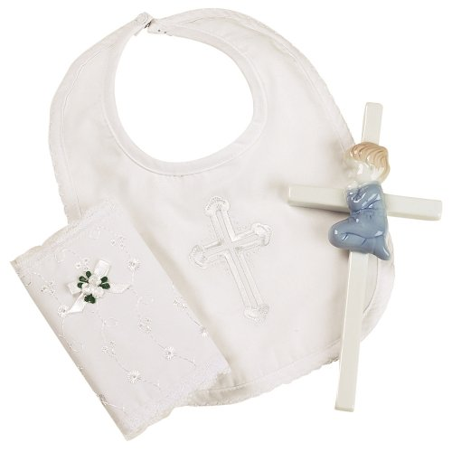 Christening Baby Bib (Elegant Baby Boy's Christening Gift Set Includes 100% Cotton Bib, Wall Hanging Porcelain Cross & Bible. Gift Boxed (Discontinued by Manufacturer))