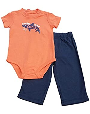 Carters Infant Boys Daddy's Great Catch Orange Creeper & Blue Pants Set 9m