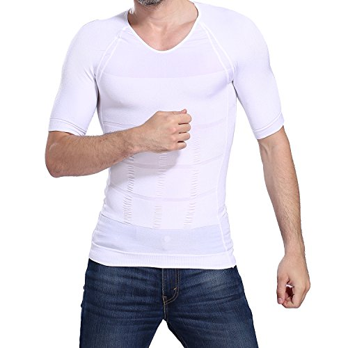Compression Shaper Body (Image Men's Body Shaper for Men Slimming Shirt Tummy Waist lose Weight Compression Shirt (L))