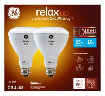 G E Lighting 40931 Relax Heavy Duty LED Light Bulbs, Soft White, Dimmable, 650 Lumens, 10-Watt, 2-Pk. - Quantity 1