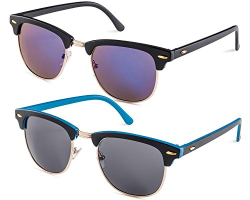 Matte Black Frame/Blue Flash Mirror Lens and Matte Black Blue Inside Frame/Grey Lens - Sunglasses Inside