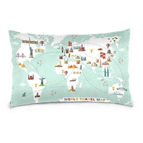 Cooper girl Travel World Map Pillow Case Sofa Bed Throw Pillow Cover Cotton Zipper 20x26 Inch (Cooper Sofa)