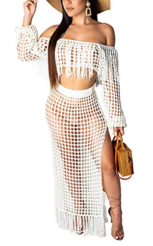 4369597a10 Women's Sexy Tassel Cover Up - Two Piece Hollow Out Off Shoulder Crop Top +  High Slit Maxi Skirt Small White