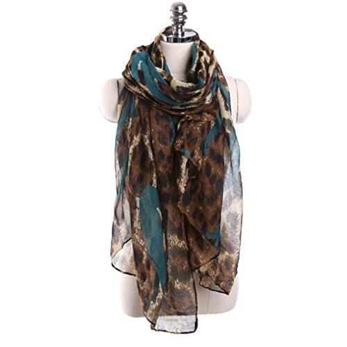 Tiean Women Ladies Leopard Print Pattern Long Scarf Warm Wrap Shawl (Light Blue)